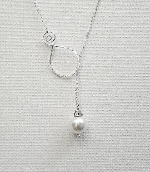 زفاف - Lariat Pearl Pendant Sterling Silver Necklace Mothers Day Necklace Silver Lariat Necklace Wedding Necklace Bridal Necklace Mom Necklace
