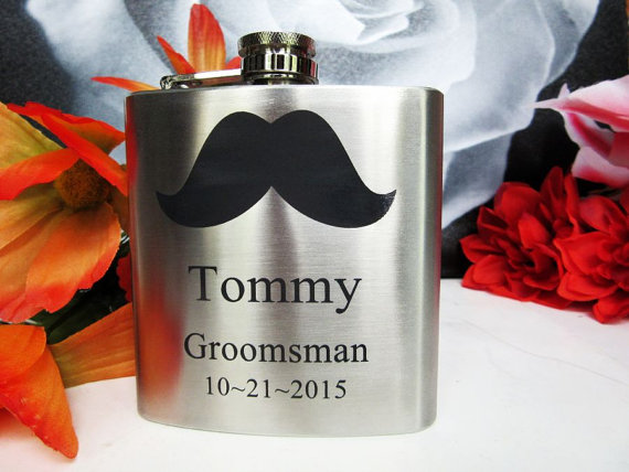 Hochzeit - Set of 11 Groomsmen Gift Flask with Mustache Design, Best Man, Father of Bride, Father of the Groom, Usher, Master of Ceremonies, Groom