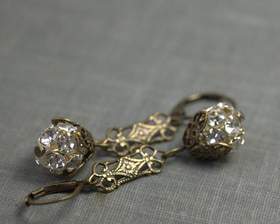 زفاف - Art nouveau earrings filigree brass or silver rhinestone flapper bridal wedding jewelry 1920's vintage style