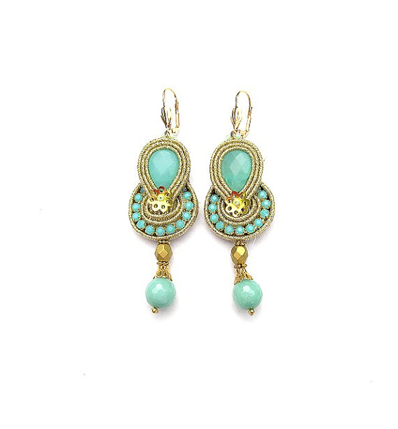 Bridal Gold Dangle Earrings Golden For Bride Turquoise Sutache Jewelry