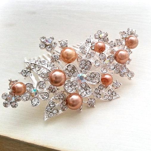 Mariage - Champagne Pearl Bridal Comb, Wedding Hair Comb, Crystal Floral Rhinestone Comb, Bridal Hair Accessories