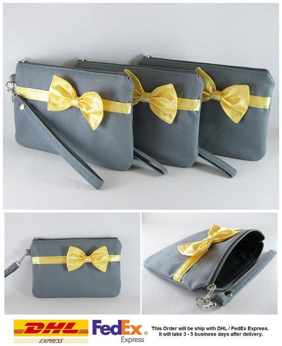 زفاف - SUPER SALE - Set of 8 Gray with Little Yellow Bow Clutches - Bridal Clutches, Bridesmaid Bag, Wedding Gift, Zipper Pouch - Made To Order