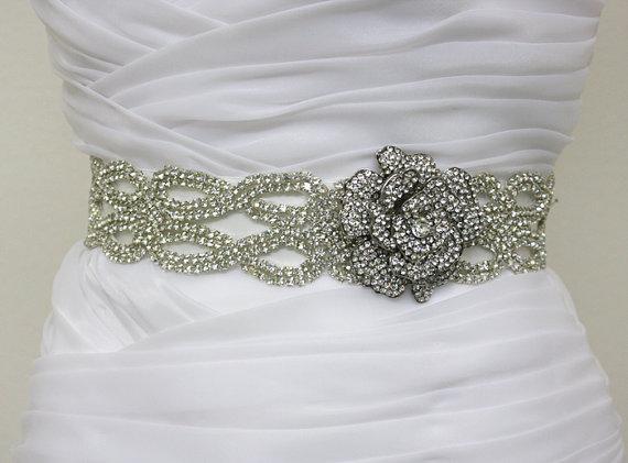 Mariage - CATHERINE - Vintage Inspired Crystals Bridal Sash, Rose Bridal Belt, Wedding Beaded Sashes, Rhinestones Wedding Belts