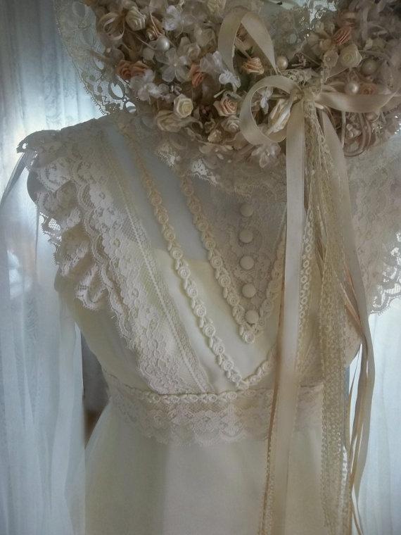 زفاف - Downton Abby Wedding Bridal gown w Veil. Ivory. French Cream. Romantic Boho Prairie Gown.Lace. Juliette Fingertip Veil