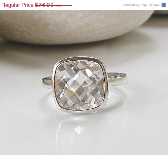 Mariage - SALE White Topaz Engagement Ring- Engagement Ring- Birthstone Ring- Solitaire Ring- Anniversary Ring- Gemstone Ring- Promise Ring- April Gif