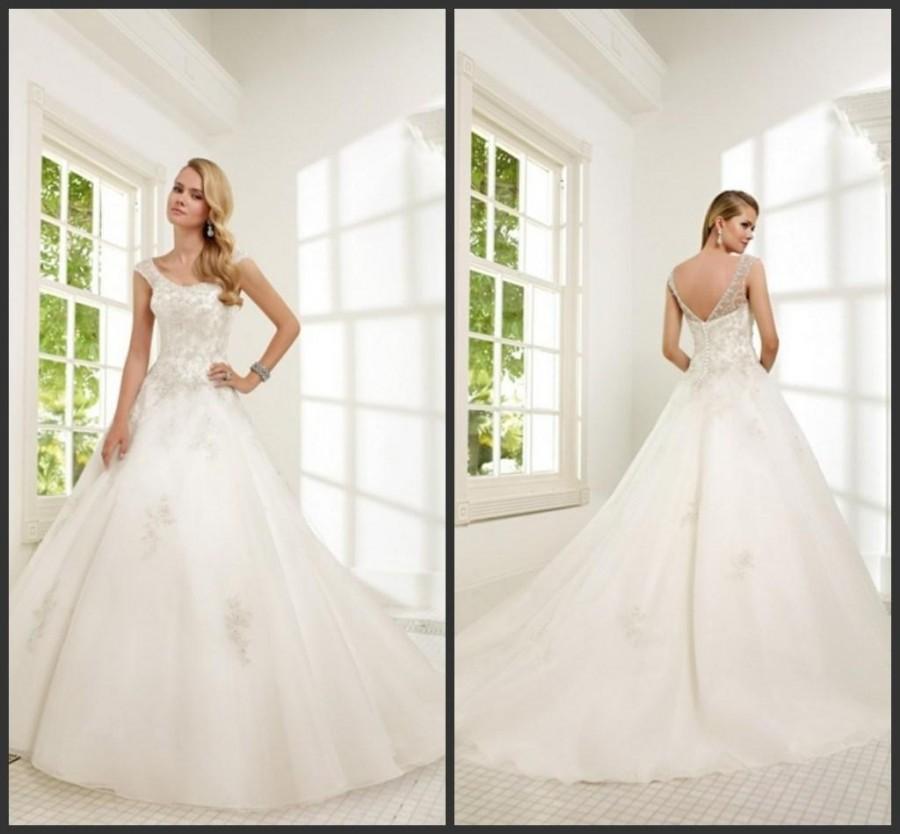 Wedding - Elegant 2015 Vestido De Novia Sheer Wedding Dresses Veni Infantino With Beads Applique Sequins Organza Chapel Bridal Ball Gowns Custom Made Online with $120.14/Piece on Hjklp88's Store