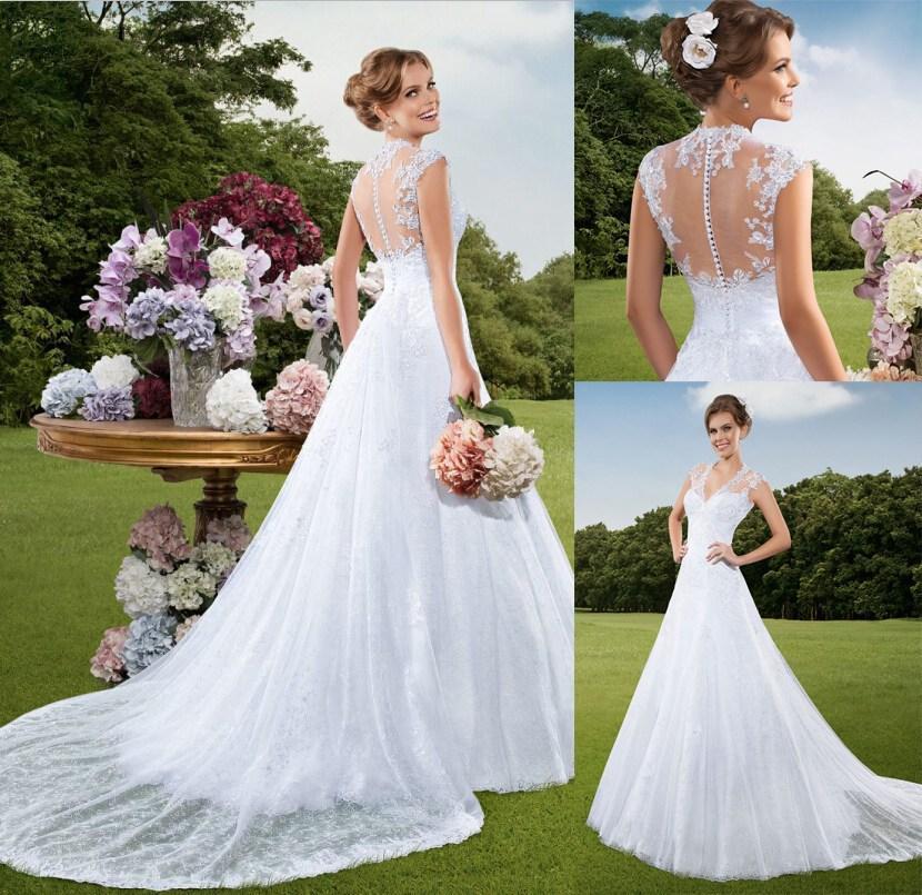 Detachable vestidos de noiva v neck sheer backless wedding for Vintage wedding dresses online shop