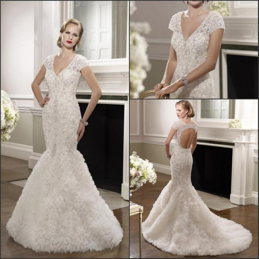 Свадьба - Gorgeous 2015 Mermaid Hollow Sheer V-Neck Veni Infantino Wedding Dresses With Beads Applique Capped Sweep Train Bridal Gowns Custom Made Online with $149.17/Piece on Hjklp88's Store