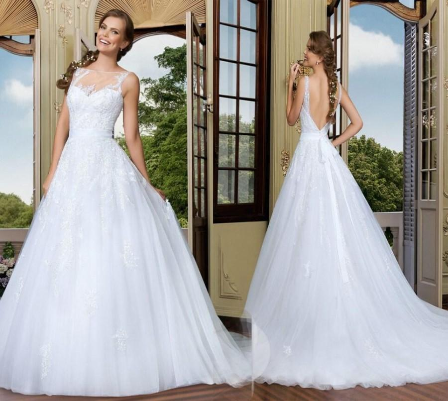 Vestidos De Noiva Bateau Neck Backless Wedding Dresses A-Line ...