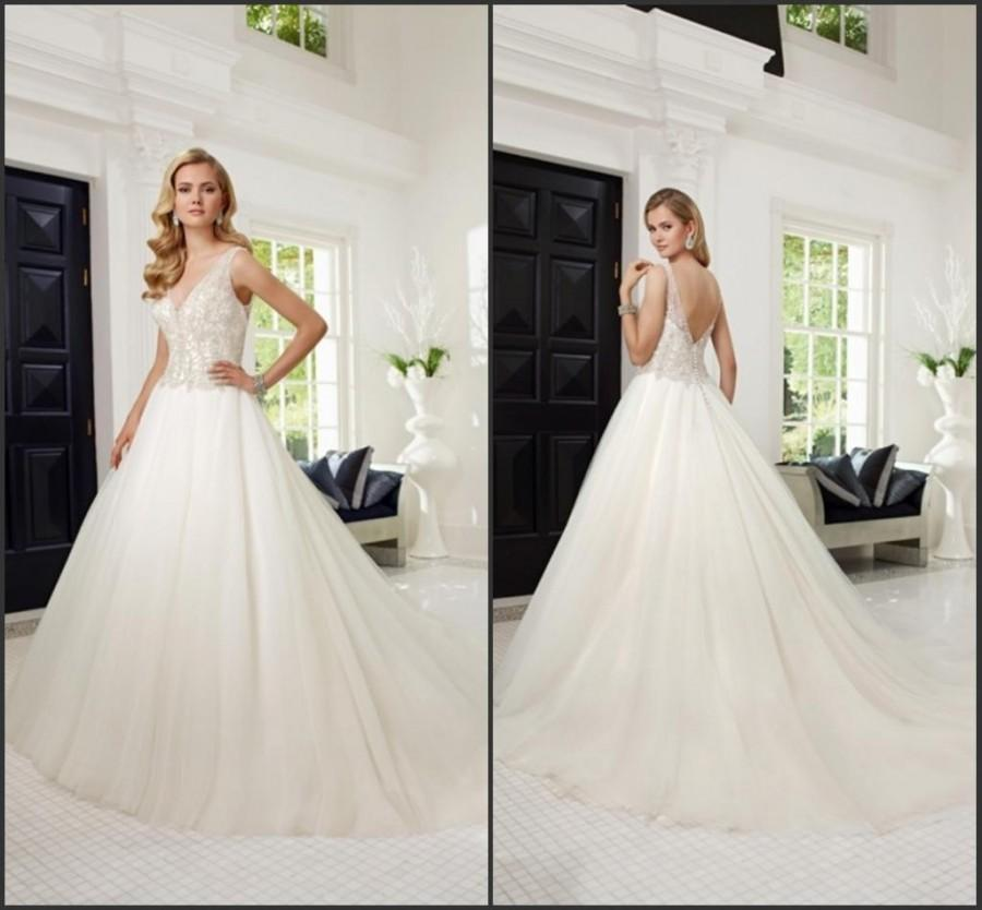 Wedding - Custom Made V-Neck Vestido De Novia 2015 Sheer Wedding Dresses Veni Infantino With Beads Crystal Sequin Chapel Sweep Train Bridal Ball Gowns Online with $122.56/Piece on Hjklp88's Store