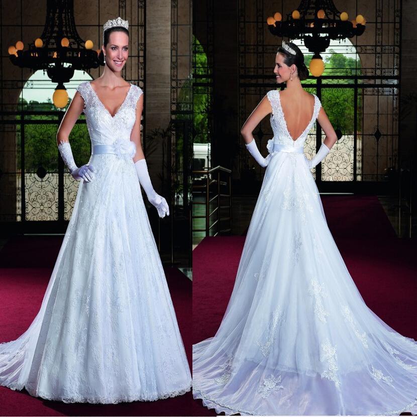 Detachable train vestidos de noiva 2015 new arrival v neck Wedding dress 88