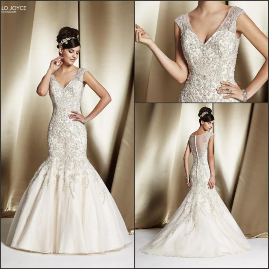 Свадьба - Amzing 2015 Lace Mermaid Veni Infantino Wedding Dresses With Beads Sheer Sheath Sequins Button V-Neck Sweep Train Bridal Gowns Custom Made Online with $127.4/Piece on Hjklp88's Store