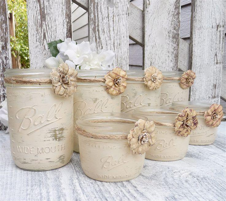 Rustic Wedding Shabby Chic Upcycled Country Wedding Decor Candle