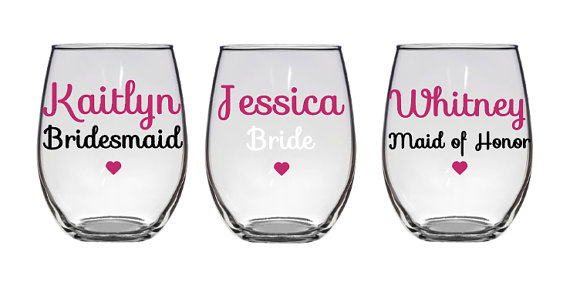 Wedding - Bridesmaid Gift, Maid of Honor, Bride to Be, Bridal Party, Bridesmaid, Wine Glass, Custom Glass, Personalized, Stemless Wine Glass, Pink