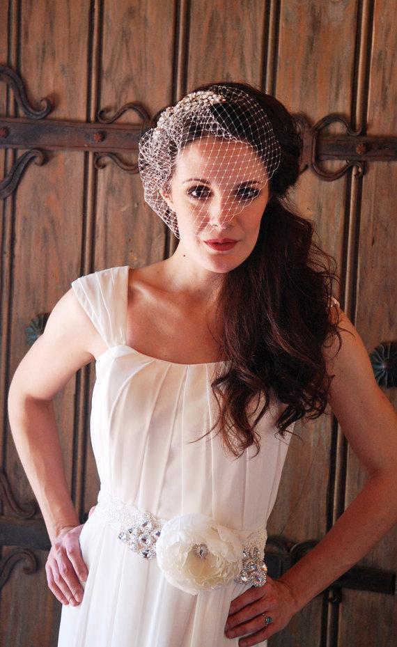 Wedding - Old Hollywood Glamour Silver Crystal Rhinestone Birdcage Wedding Veil - Nice