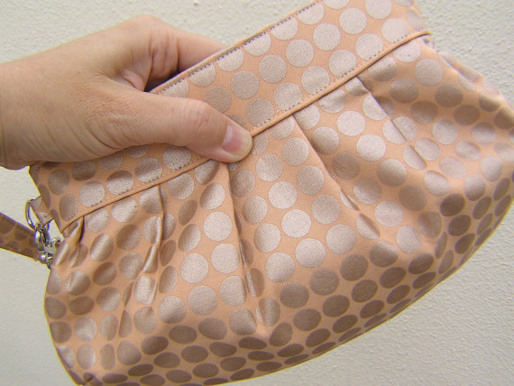 Mariage - BRIDESMAIDS CLUTCH, Janbag Wristlet wedding clutch gift for her spring wedding favours  - Mirror dots clay