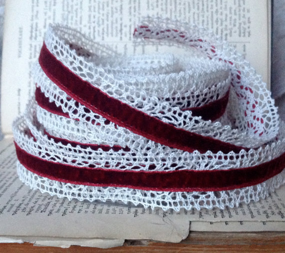 Mariage - velvet crochet red burgundy ribbon diy boho wedding holiday farmhouse chic simple elegant vintage looking