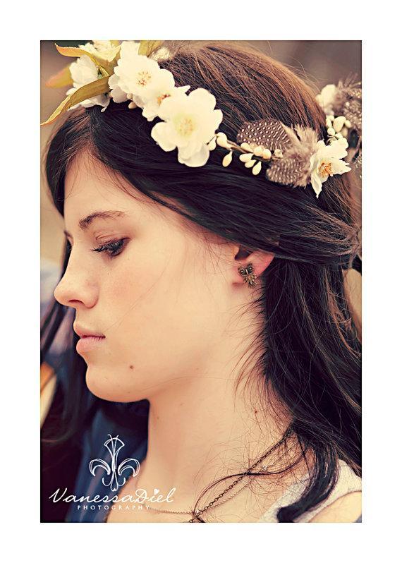 Mariage - Eve. a nature inspired headband. woodland. fairytale. wedding.