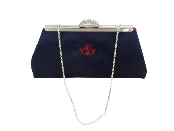 Mariage - Gifts For Her, Gift Ideas, Holiday Gifts, Bridesmaid Gift Clutch Navy Blue And Bright Red Embroidered Monogram. Bridal Clutch Wedding Clutch