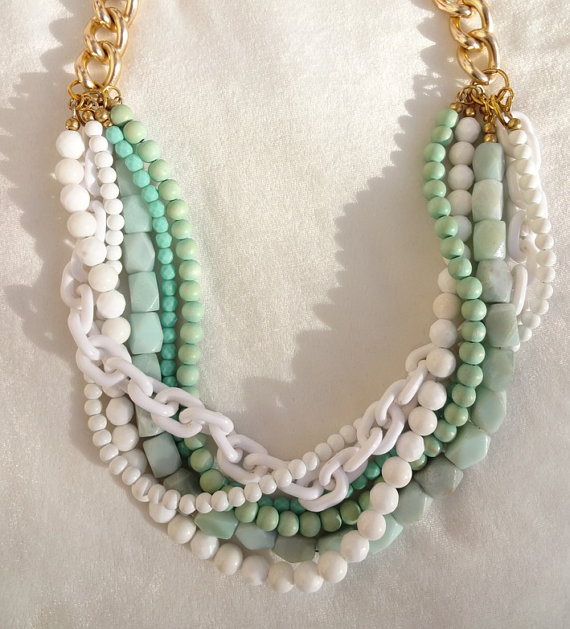 Mariage - Mint Turquoise Statement Necklace chunky necklace statement jewelry bridal statement chunky beads GIRL FROM IPANEMA