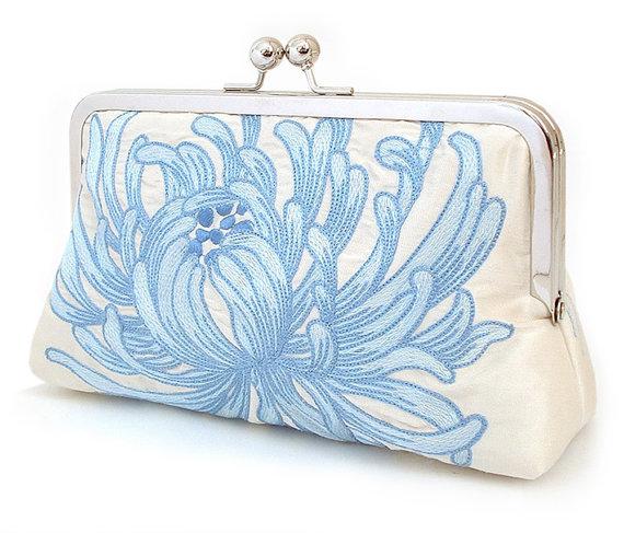 زفاف - Clutch bag, silk purse, bridal bag, wedding accessory, bridesmaid gift, BLUE CHYRSANTHEMUM