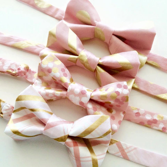Mariage - Little and Big Guy BOW TIE - Blush and Gold Collection - (Newborn-Adult) - Baby Boy Toddler Teen Man - Easter Spring