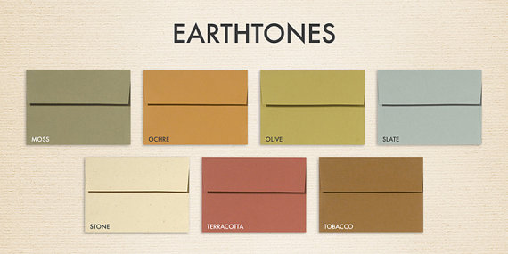 Wedding - A6 Invitation Envelopes (4 3/4 x 6 1/2) - Recycled  Earthtones Collection (50 Qty.)