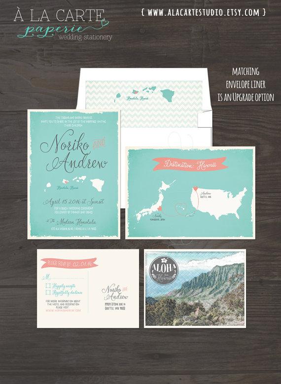 USA Japan Hawaii Wedding Invitation And RSVP Card Aqua Turquoise