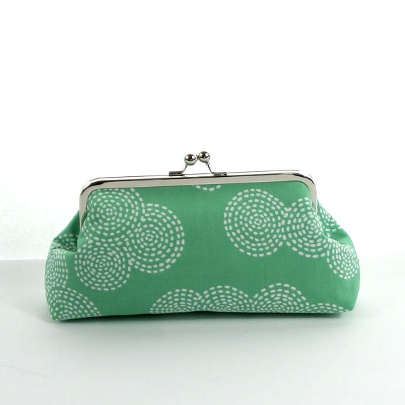 Wedding - Wedding Clutch Mint Green and White Wedding Purse, Bridesmaid Clutches, Personalized Gift- Stitch Circles