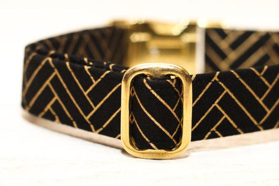 زفاف - Dog Collar Chevron Metallic Gold, Herringbone, Wedding Dog Collar, Black and Gold