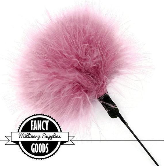 زفاف - 1 - Dusty Rose - Pink - Mauve - Marabou - Ostrich Feather - Pom Pom - Poof - Millinery Feather - Bouquet Pick