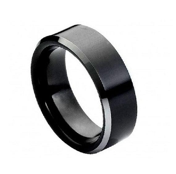 زفاف - 8MM Men's Wedding Engagement Anniversary Band Cobalt Ring Black Enamel Plated High Polish Center non-Plated High Polish Beveled Edge