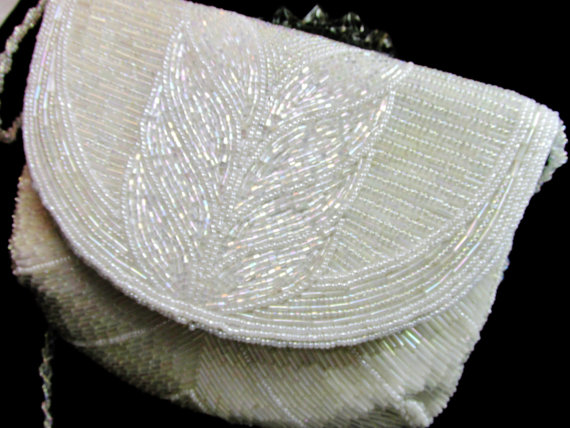 Wedding - Vintage Clutch White Iridescent Bead Convertible Clutch With Bead Shoulder Strap Wedding Bridal Item Dressy Purse 1154