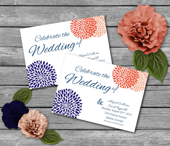 coral and navy printable wedding invitations party invitations