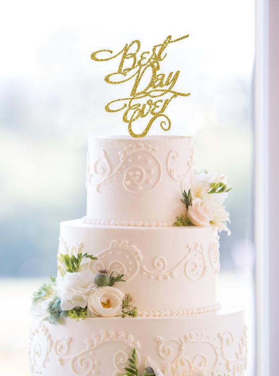 زفاف - Glitter Best Day Ever Wedding Cake Topper in an Elegant Script Font – Custom Wedding Cake Topper Available in 6 Glitter Options