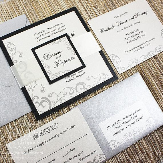Elegant Wedding Invitation Black Cream Elegant Invitations Formal