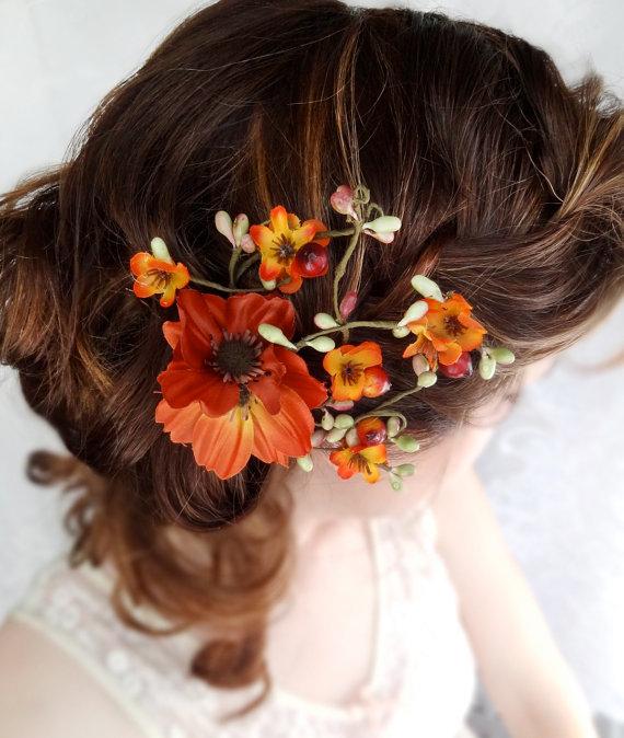 Wedding - fall wedding hair clip, autumn wedding, fall flower hair accessory, orange flower - WILDWOOD BRAMBLE - rustic wedding accessories