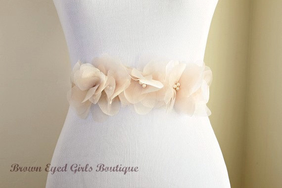 Vera Inspired Blush Wedding Sash Bridal Organza Flowers