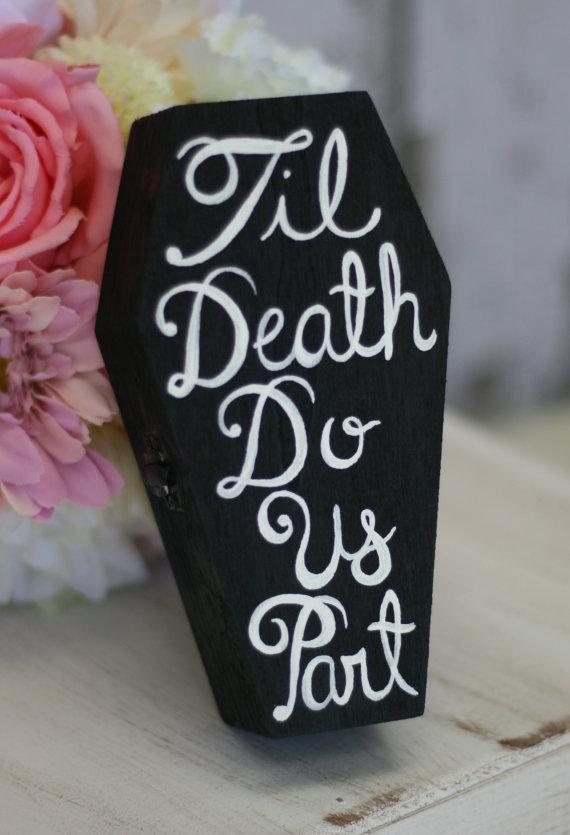 Wedding - Custom Ring Bearer Pillow Box Til Death Do Us Part Coffin (Item Number 140244)
