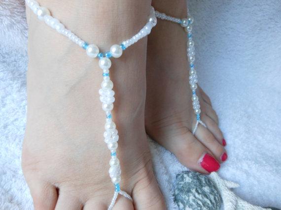 Свадьба - Barefoot Sandals Beach Wedding   Yoga Shoes Foot Jewelry  Beads Pearls White Blue