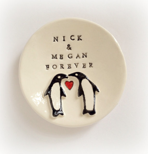 Wedding - Personalized penquin ring holder engagement gift for couple ring dish handmade by Cathie Carlson