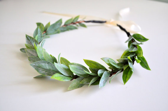 Mariage - Natural Wedding Leaf Crown, Flower Hair Crown, Greek Goddess Headdress Baby Shower Crown