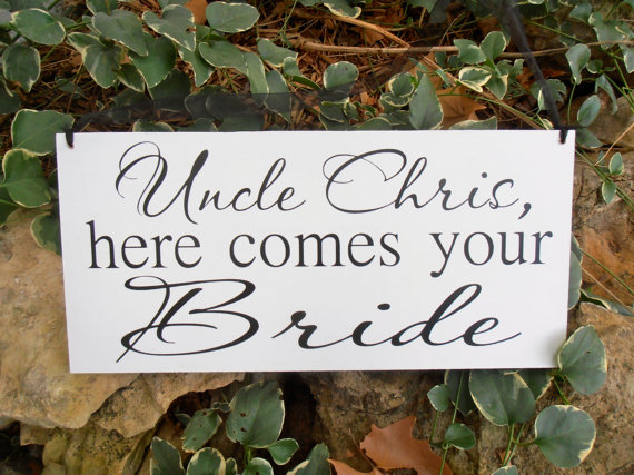 Wedding - Uncle here comes your bride Wood Sign Decoration Here comes the bride sign Ring bearer Flower girl