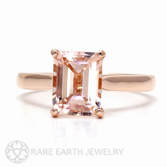 Wedding - Morganite Ring 14K Rose Gold Emerald Cut Morganite Engagement Ring Solitaire Gemstone Ring 14K White Yellow Rose Gold