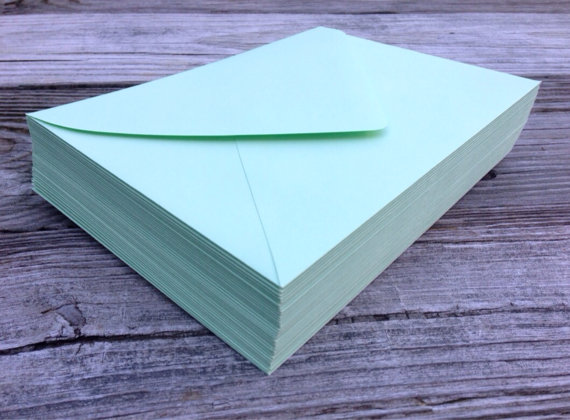 50 A7 5x7 Or 4bar 3 5x5 Envelopes Mint Green Paper Source Invitation Rsvp Euro Flap Bridal Shower Wedding