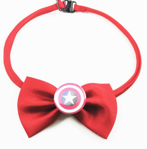Свадьба - Captain America Red Bow Tie Avengers Superhero - Men's Boy's and Pet's Costume Wedding Formal