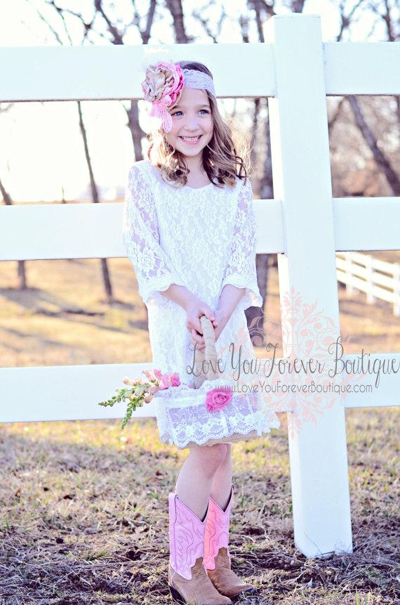 Boda - Rustic Flower girl dress Pink flower lace HEADBAND Rustic Wedding