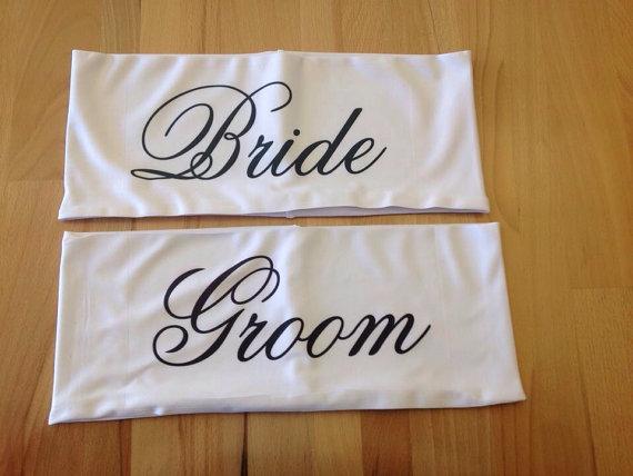 Свадьба - Bride & Groom Chair Band Lycra Wedding Table Decoration Sash