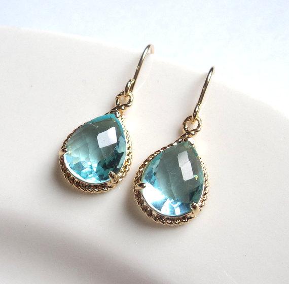 Свадьба - Aquamarine blue topaz glass gold tear shape dangle drops french wire earrings.  Bridal earrings.  Bridesmaids earrings.  Wedding jewelry.