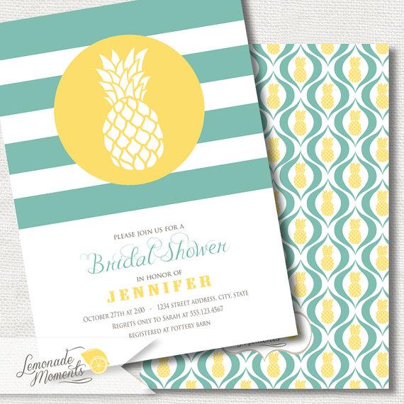 Hochzeit - Pineapple Bridal Shower Invitation /  Printable Invitation